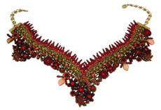 Michal Negrin Jewelry Crystal Flower V Necklace On A Lace - 100-101450-003