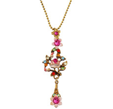 Michal Negrin Jewelry Flower Crystal Necklace - Multi Color