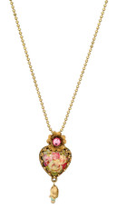 Michal Negrin Jewelry Victorian Small Heart Necklace - Multi Color