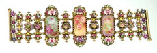 Michal Negrin Jewelry Oval Shape Victorian Cameo On Crystal Flower Bracelet - One Left
