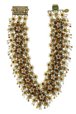 Michal Negrin Jewelry Gold & Brown Victorian Flowers Choker On A Lace - Multiple Options