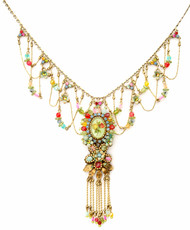 Michal Negrin Jewelry Printed Oval Cameo Flowers Necklace With Dangling Crystals - Multi Color