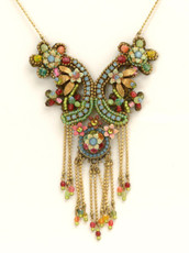 Michal Negrin Jewelry Flowers Necklace With Dangling Crystals