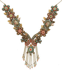 Michal Negrin Jewelry Printed Ovals Cameo Flowers Necklace With Dangling Crystals - Multi Color