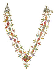 Michal Negrin Jewelry Printed Cameo Flowers Necklace With Dangling Crystals