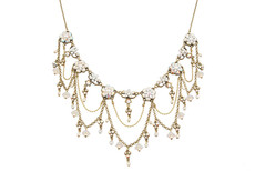 Michal Negrin Jewelry Swarovsky Crystals Flowers Necklace With Dangling Chains - Multi Color