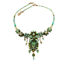 Michal Negrin Jewelry Crystal Flower Necklace With Dangaling Crystal - Multi Color