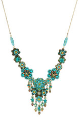 Michal Negrin Jewelry Turquoise Crystal Flowers Necklace