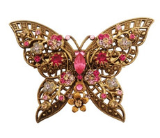 Michal Negrin Jewelry Crystal Butterfly Shape Pin - 100-102820-111 - Multi Color