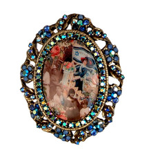 Michal Negrin Jewelry Oval Shape Printed Cameo Israel Pin - Multiple Options