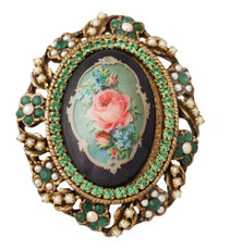 Michal Negrin Jewelry Oval Shape Printed Cameo Pin - 100-100790-211 - Multiple Options