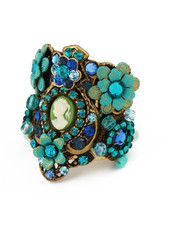Michal Negrin Jewelry Circle Shape Victorian Cameo On Adjustable Flower Ring