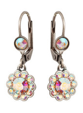 Michal Negrin Jewelry Silver Crystal Flower Hook Earrings - Multi Color