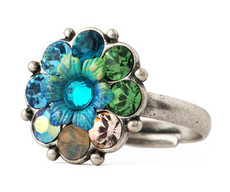 Michal Negrin Jewelry Silver Crystals Flower Adjustable Ring
