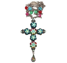 Michal Negrin Jewelry Silver Cross With Tear Drop Necklace