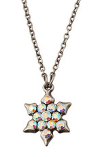 Silver Crystal Jewish Star Of David Necklace By Michal Negrin - Multi Color