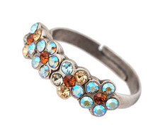 Michal Negrin Jewelry Silver Small Flowers Ring - Multi Color