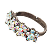 Michal Negrin Jewelry Silver 4 Flower Adjustable Ring - Multi Color
