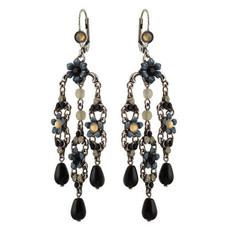 Michal Negrin Jewelry Silver Crystal Flower Hook Earrings - 110-099011-021 - Multi Color