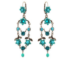 Michal Negrin Jewelry Silver Crystal Flower Hook Earrings - 110-099041-004