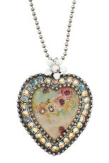 Michal Negrin Jewelry Silver Crystal Heart Necklace - 110-099710-001 - Multi Color