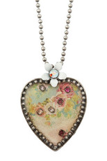 Michal Negrin Jewelry Silver Crystal Heart Necklace - 110-099720-001 - Multi Color