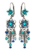 Michal Negrin Jewelry Silver Crystal Flower Hook Earrings - 110-100961-009 - Multi Color
