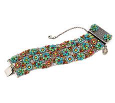 Michal Negrin Jewelry Silver 3 Rows Flower Bracelet
