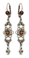 Michal Negrin Jewelry Silver Crystal Flower Hook Earrings - Multi Color