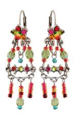 Michal Negrin Jewelry Silver Crystal Flower Hook Earrings - 110-103761-011 - Multi Color