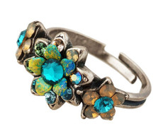 Michal Negrin Jewelry Silver Blue Flowers Adjustable Ring