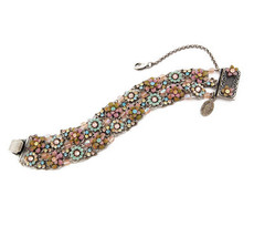 Michal Negrin Jewelry Silver 2 Rows Flower Bracelet