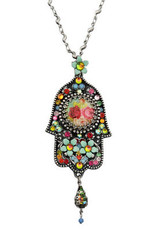 Hamsa Charm Necklace From Silver By Michal Negrin - Multi Color