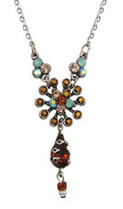 Michal Negrin Jewelry Silver Crystal Flower W/ Tear Drop Necklace - Multi Color