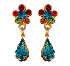 Michal Negrin Jewelry Gold Flower Post Crystal With Tear Drop Earrings