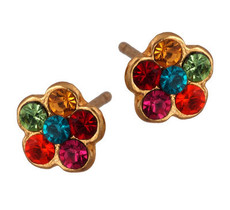 Michal Negrin Jewelry Gold Flower Post Crystal Earrings - 120-089882-013