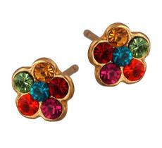 Michal Negrin Jewelry Gold Flower Post Crystal Earrings - 120-089882-013