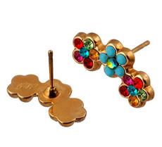 Michal Negrin Jewelry Gold 3 Flowers Post Earrings