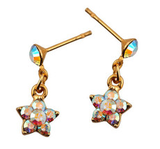 Michal Negrin Jewelry Gold Flower Crystal Post Earring - Multiple Options
