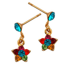 Michal Negrin Jewelry Gold Flower Crystal Post Earrings - Multi Color