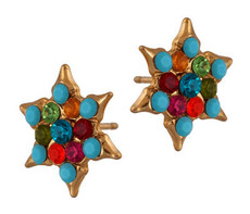Jewish Jewelry Gold Star Of David Crystal Hook Earrings By Michal Negrin - Multi Color