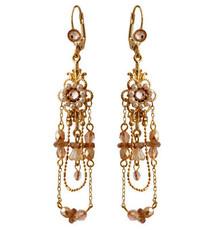 Michal Negrin Jewelry Gold Crystal Flower Hook Earrings - 120-100941-002