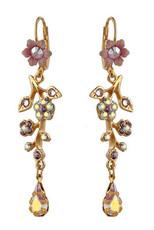 Michal Negrin Jewelry Gold Crystal Flower With Tear Drop Hook Earrings - Multiple Options