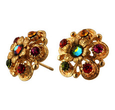 Michal Negrin Jewelry Gold Crystal Flower Post Earrings - Multiple Options