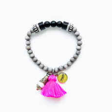 7Stitches Kabbalah Protection Pink Tassel Bracelet