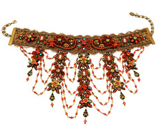 Michal Negrin Jewelry Flowers Choker With Dangling Crystals On A Lace