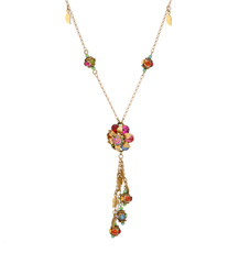Michal Negrin Jewelry Flower With Dangling Leaves Necklace