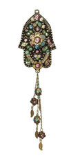 Michal Negrin Hamsa With Dangle Leaves Necklace