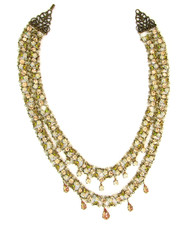Michal Negrin Jewelry 2 Rows Crystal Flowers With Tear Drop Necklace