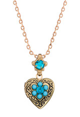 Michal Negrin Heart Locket With Tourquise Flower Necklace